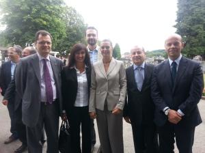 da sinistra: l'On. Fabio Porta, l'On. Laura Garavini, il Presidente della Camera Laura Boldrini, l'On. Mario Caruso ed il Sen. Aldo Di Biagio.