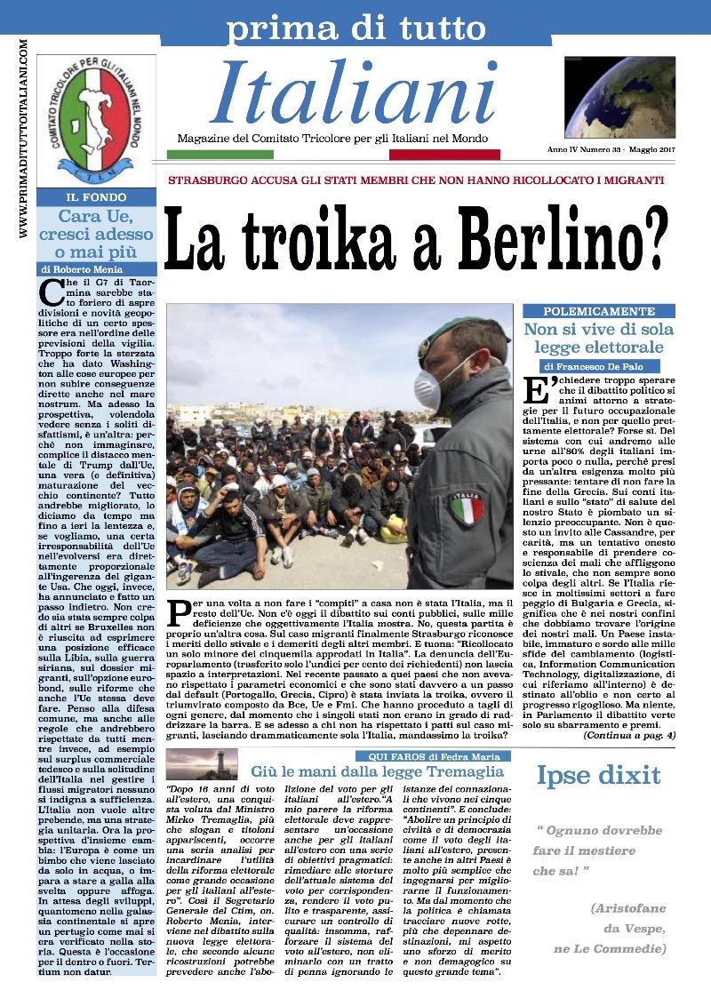 PRIMA DI TUTTO ITALIANI DI MAGGIO: CASO MIGRANTI, LA TROIKA A BERLINO EPARIGI?